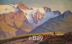 Grand tableau ancien superbe paysage de montagne La Meije