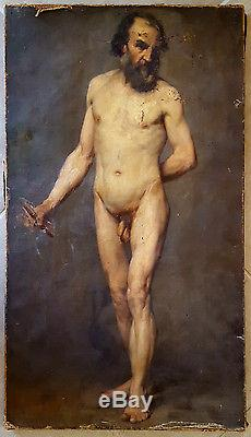 Homme Barbu Nu grand tableau ancien superbe portrait d'homme barbu et nu