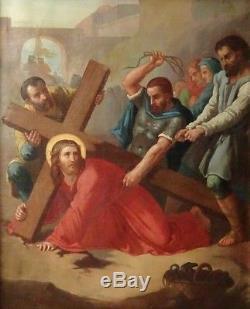 Grand tableau religieux ancien Simon de Cyrène aide Jésus à porter sa croix