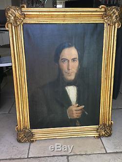 Grande Huile sur toile ancien tableau XIXe siècle daté 1866