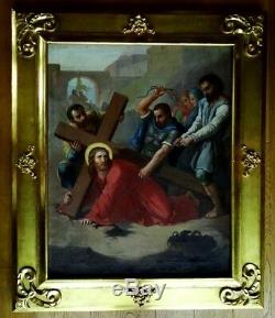 Grande huile sur toile 18ème Portement de croix Tableau ancien
