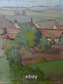 Guillaume Ernest PELLUS (1878-1945) ancien tableau toitures Impressionnisme