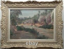 Gustave Nicolas PINEL Rare Tableau ancien 19ème Paysage Orientaliste Huile Signé