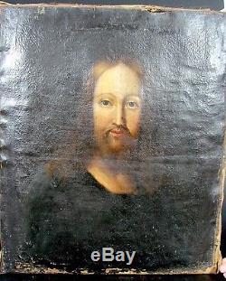 HST Ecole française du XVIIè, Portrait Jeune Homme tableau ancien à restaurer