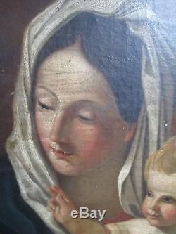 Huile Toile Tableau Vierge Enfant Madone Xix° Ancien