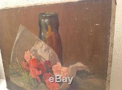 Henri Emile ROGEROL (1877-1947) Grand Tableau ancien Huile Bouquet Roses Signé
