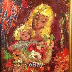 Henry Maurice d'ANTY Ancien Tableau Ecole de Paris Portrait Femme Enfant Huile