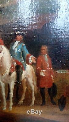 Hst Tableau Ancien 1700 Louis XIV Au Siège De Gray Franche Comté