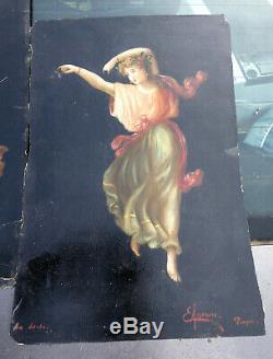 Huile Ancienne Italienne 2 Huiles / La Dansa / L Inverno Tableau Ancien Allegori