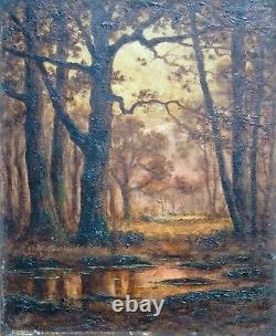 Huile Tableau Ancien Adrien Schulz 1851-1931 Barbizon Forêt Fontainebleau