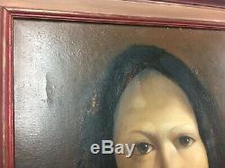Huile Tableau Ancien Portrait de femme artiste à identifier