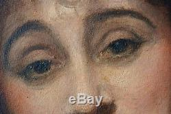 Huile Tableau Ancien Portrait de femme artiste à identifier 65 x 54 cms
