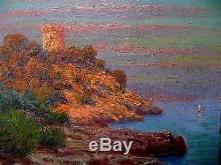 Huile, impressionniste, marine, Morel de TANGUY(1857-1930). Tableau ancien