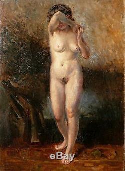 Huile sur toile, Nu, impressionniste, École Française, Fin 19ème. Tableau ancien