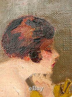 Huile sur toile, Nu à la lecture, signé, vers 1920. Tableau ancien