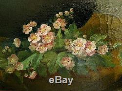 Huile sur toile, bouquet de roses, J FEDERICI(1806-) Tableau ancien