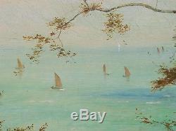 Huile sur toile, Île de Wigth, Théodore HINES (act 1876-1889) Tableau ancien