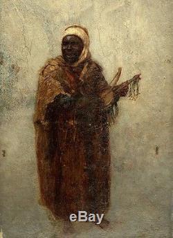 Huile sur toile orientaliste Joueur d'inzad Musicien Touareg Tableau ancien