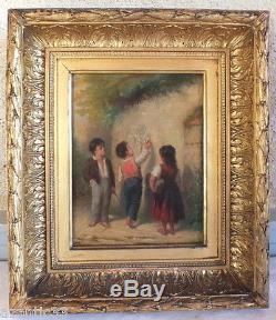 Huile sur toile peinture tableau ancien 3 enfants taggueurs graffitis signé