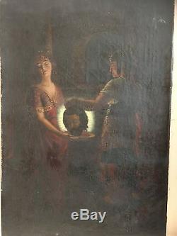 Huile sur toile tableau ancien Salomé et Saint Jean Baptiste XIXe