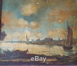 Huile, tableau ancien, marine