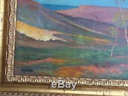 Huile /toile Tableau Ancien Ecole De Pont Aven Paysage Aux Arbres Signé Daté