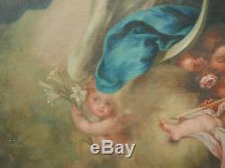 IMMENSE TABLEAU A RESTAURER Ancien Huile Assomption de la Vierge Anges Putti XIX