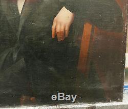 Immense Tableau Ancien Huile Portrait d'Homme Dandy Lettre Ecrivain Milieu XIXe
