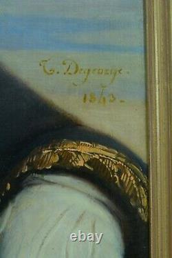 Important Tableau Ancien Portrait D'homme Costume Paysage DEGEORGES elv. David