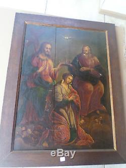 Important Tableau ancien/Couronnement de la Vierge-Christ -XIXe-Huile-OIL