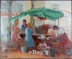Jacqueline Triby (Française) Ancien Tableau Peinture Huile Original Oil Painting