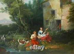 Jacques Nicolas JULLIARD François BOUCHER tableau ancien berger paysage 18ème