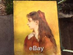 Jeune fille Portrait, Impressionniste, Signé Tableau ancien 40cmx32cm