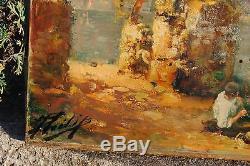 Joli tableau ancien représentant le Lac D'Annecy (Vieille Paterne Talloires)