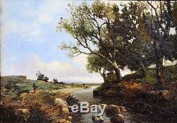 Joseph COLLA (1841-) PAYSAGE XIX PROVENCE HUILE TABLEAU ANCIEN LOUBON COROT