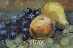Joseph Lagasse, 1878, Nature morte aux raisins, poire et pommes, Tableau ancien