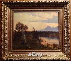 Jules DUPRE 1811-1889 (Attr. À) Grand tableau avec important cadre doré ancien