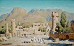 Kasbah dans l'Atlas Tableau orientaliste ancien