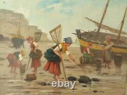 L. Morin, Tableau Ancien huile sur toile pêcheur