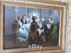 Léonard SAURFELT -c. 1840-Scène-Dîner galant-Tableau ancien-Huile-HSP-signée-oil