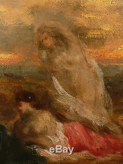 Les Baigneuses, M. A ROSALBIN DE BUNCEY(1833-1891), HSP. Tableau ancien