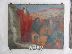 Lot 4 Tableau Ancien Old Antique Painting Huile Sur Toile Peinture Religieux