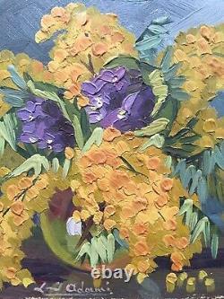 Louis Adami Bouquet Fleurs Mimosas Vases Tableau Ancien HsC Signé Nature Morte