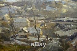 Louis Cabié tableau ancien paysage d'hiver Dordogne naturaliste fin XIXe Huile/P