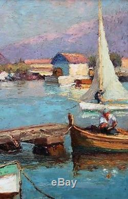 Louis LANZA XIX-XXe Toulon, le port et l'ancien bagne Tableau