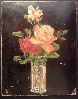 Louis MAISTRE 1846 Tableau Ancien XIXe Bouquet Roses Huile signée à restaurer