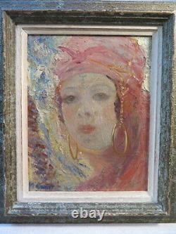 M. Canet Ancien Tableau Portrait Jeune Femme Orientale Orientaliste Berbere Signe
