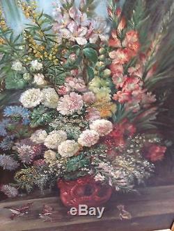 Magnifique Tableau Ancien 19eme Bouquet Fleurs Oiseaux Huile Sur Toile