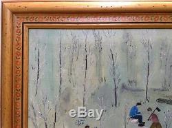 Magnifique Tableau Ancien Art Naïf Paysage aux Bûcherons Huile toile signée