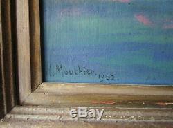 Magnifique ancien grand tableau de montagne signé Hippolyte Mouthier Grenoble